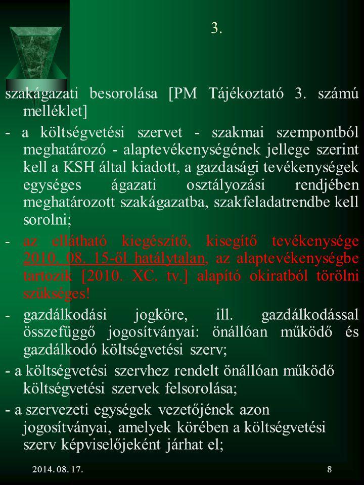 szakágazati besorolása [PM Tájékoztató 3. számú melléklet]